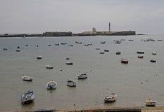 Boats by the beach in spanish city Cadiz stock image