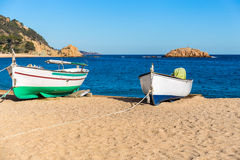 Boats on a beach, Tossa de Mar, Costa Brava, Cataloni Royalty Free Stock Photo
