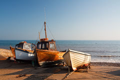 Boats on the beach, UK. Royalty Free Stock Images