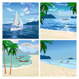 Boats on the beach. Vector image. Boats on the beach. Sea sand ships and palms. Illustration of travel or sailboat sport. Vector image Stock Photo