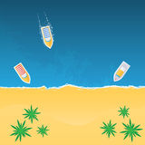 Boats on the beach view from above. Vector illustration Stock Photography
