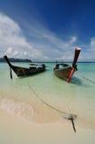 Boats on beautiful beach at Phi Phi island Stock Photos