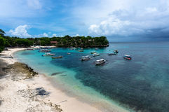 Boats in the beautiful cove of tropical island Royalty Free Stock Photos