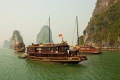 Boats in Beautiful Halong Bay stock photo