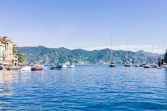Boats in beautiful sea bay and picturesque seascape. In Portovenere, Italy stock images