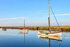 Boats at Blakeney stock images