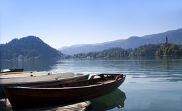 Boats on Bled lake Stock Images