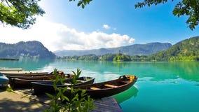 Boats in Bled Lake Blejsko jezero, Slovenia stock video footage