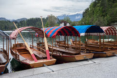 Boats on a Bled lake Royalty Free Stock Photography
