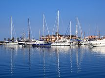 Boats in blue marina Mediterranean sea Denia Royalty Free Stock Photos