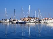 Boats in blue marina Mediterranean sea Denia Royalty Free Stock Photos