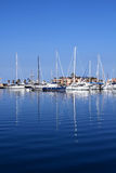 Boats in blue marina Mediterranean sea Denia Stock Images