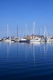 Boats in blue marina Mediterranean sea Denia stock images