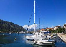 Boats in the blue sea, Kotor, Montenegro.  Stock Photography
