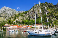 Boats in the blue sea, Kotor, Montenegro Royalty Free Stock Photo