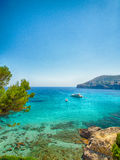 Boats and blue sea in Majorca Royalty Free Stock Photography