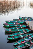 Boats. Boathouse on the river with many boats Stock Photos