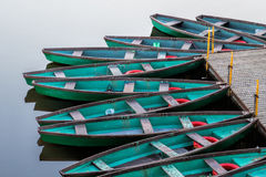 Boats. Boathouse on the river with many boats Stock Photo
