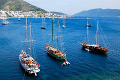 The boats of Bodrum. Tourism in Bodrum in Turkey Stock Photo