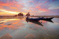 Boats on Body of Water during Sunset Stock Image