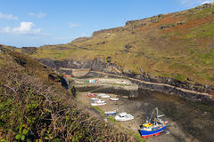 Boats in Boscastle harbour Cornwall England UK Royalty Free Stock Photography