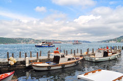 Boats on Bosphorus. Boats sailing on the Bosphorus, Istanbul, Turkey Stock Photo