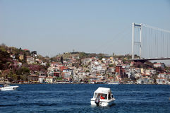Boats in Bosporus Sea. Boat and suspension bridge in Turkey Stock Photography