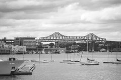Boats in Boston Harbor. This is a black and white pictures of boats in the Boston harbor Stock Photography