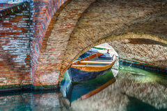 boats and bridges in Comacchio, the little Venice Stock Photo