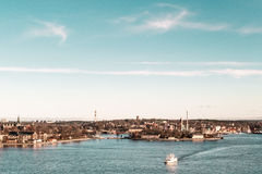 Boats and Buildings of Stockholm, Sweden Stock Photography