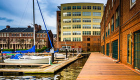 Boats and buildings on the waterfront in Fells Point, Baltimore, Stock Photos