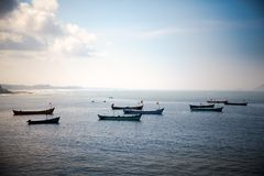 Boats in bule ocean Stock Image