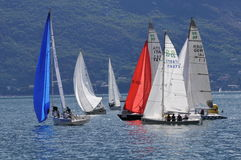 Boats at a buoy of Trofeo Gorla 2012 Stock Photos