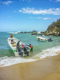 Boats at Cabo San Juan Beach in Colombia Stock Photography