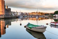 Boats at Caernarfon. On the north coast of Wales royalty free stock photography