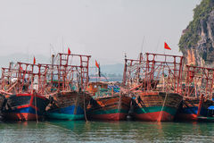Boats in Cai Rong port, Bai tu long Royalty Free Stock Photo