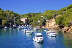 Boats in Cala Figuera, Mallorca. Spain Royalty Free Stock Photography