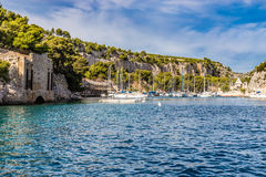 Boats In Calanque - Inlet Near Cassis, France Stock Photo