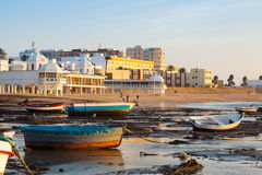Boats at Caleta beach in  Cadiz, Spain Royalty Free Stock Image