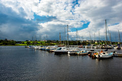 Boats In A Calm Harbor In Ireland Royalty Free Stock Image