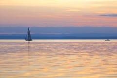 Boats on a calm lake Stock Photo