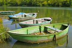Boats in calm water stock image