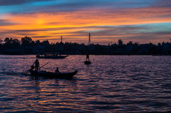 Boats on the Can Tho River, Vietnam at dawn Stock Photos