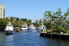 Boats on canal – Fort Lauderdale Royalty Free Stock Images