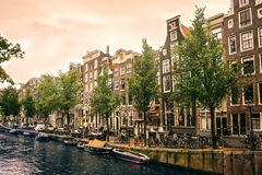 Boats on the canal in Amsterdam Royalty Free Stock Image