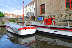 Boats on canal in Bruges Stock Image