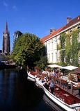 Boats on canal, Bruges. Royalty Free Stock Photo
