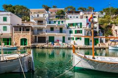 Boats in Canal in Cala Figuera Mallorca Spain. Boats in Canal in Cala Figuera, Mallorca, Balearic Islands, Spain Stock Photos