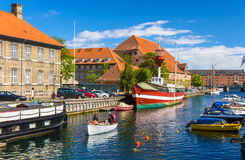 Boats on a canal in Copenhagen Stock Images