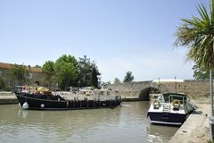 Boats at the Canal du Midi Royalty Free Stock Photography